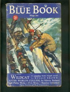 BLUE BOOK PULP JAN 1934-PC WREN-PHILIP WYLIE-STORM CVR FR/G