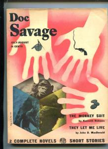 Doc Savage Pulp July 1947- John D MacDonald- Monkey cover FN
