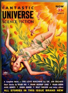 FANTASTIC UNIVERSE SCIENCE FICTION-Mar 1954-Pulp-CLARENCE DOORE COVER ART