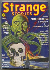 Strange Stories Pulp August 1939- Oriental menace- Snake Goddess VG-