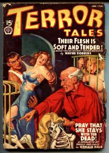 Terror Tales 1/1940-bound woman-skeleton-weird menace pulp magazine