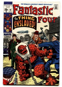FANTASTIC FOUR #91 comic book 1969- THE THING ENSLAVED-JACK KIRBY