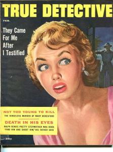 TRUE DETECTIVE-FEB 1956-G-MURDER-KIDNAP-RAPE-STRANGLING-KUNSTLER COVER-SPICY G