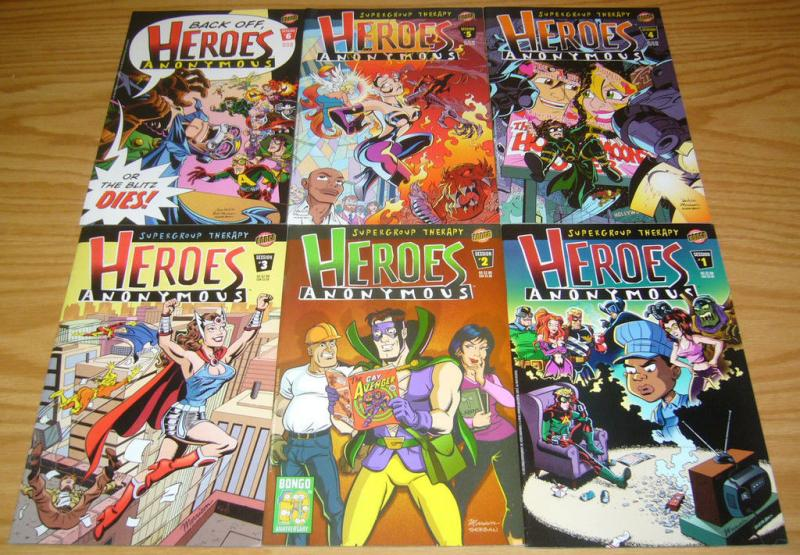 Heroes Anonymous #1-6 VF/NM complete series BONGO COMICS bill morrison set lot