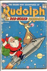 RUDOLPH -DC-1958-CLASSIC COVER-SANTA-ROCKET SHIP-RARE-good
