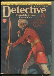 DETECTIVE STORY 2/22/1930-VIOLENT PULP THRILLS-TERRORIST-KNIFE-WEIRD MENACE-vg