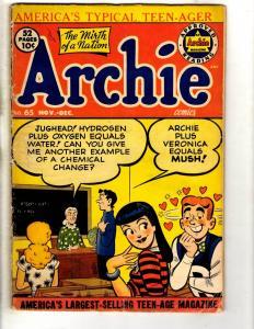 Archie # 65 VG Golden Age Comic Book Jughead Veronica Betty Reggie Sabrina JL3