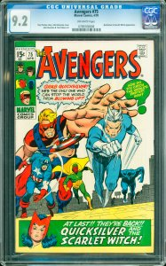 Avengers #75 CGC Graded 9.2 Quicksilver & Scarlet Witch appearance.