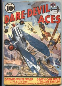 DARE-DEVIL ACES MAY 1939-BI PLANE BATTLE COVER BY FREDERICK BLAKESLEE-AIR WAR PU
