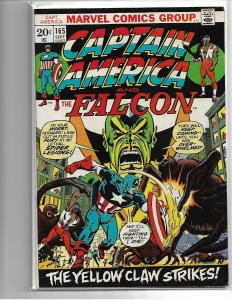 CAPTAIN AMERICA #165 - FN - YELLOW CLAW KEY ISSUE - MID GRADE MARVEL BRONZE AGE