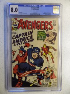 AVENGERS # 4 MARVEL CGC 8.0. 1ST SILVER CAPTAIN AMERICA THOR IRON MAN