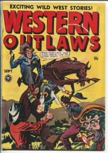 WESTERN OUTLAWS #17 1948-FOX-1ST ISSUE-JACK KAMEN-HEADLIGHT PANELS-vg