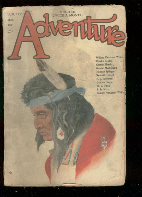 ADVENTURE PULP-JAN 18 1921-INDIAN COVER BY WC TUTTLE-   G-
