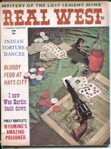 Real West 7/1963-Charlton-cards& poker chips cover-John Wesley Hardin-Crazy H...
