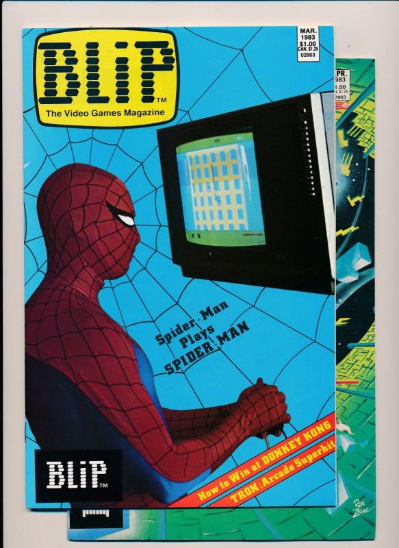 Marvel Comics BLIP Video Games Magazine #2-3 Spiderman Cvr ~ VF/NM 1983 (PF196)