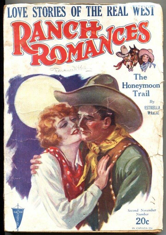 RANCH ROMANCES 2nd NOV 1928-CLAYTON PUBS-WESTERN PULP FICTION-RARE