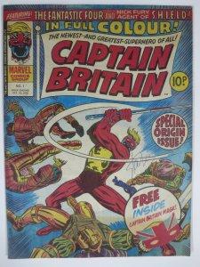 CAPTAIN BRITAIN #1 (1976) Marvel UK First app Stan Lee Autograph FN No mask