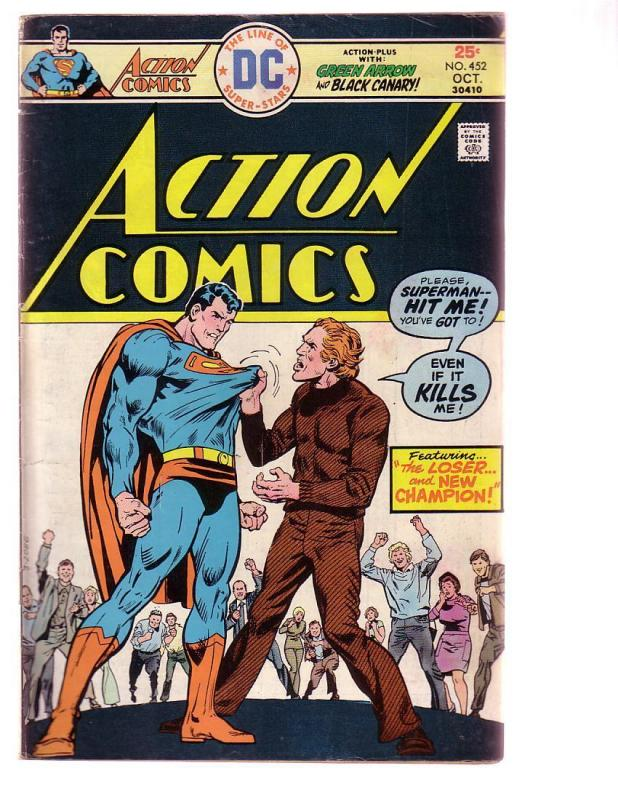 ACTION COMICS #452 1975-SUPERMAN-DC COMICS-BLACK CANARY G