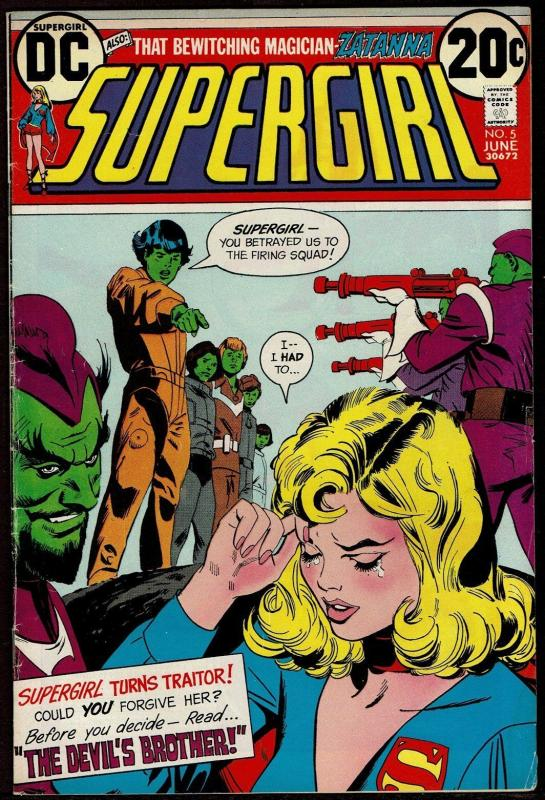 Supergirl #5 (Jun 1973, DC) Origin of Zatanna Hawkman Backup 5.0 VG/FN