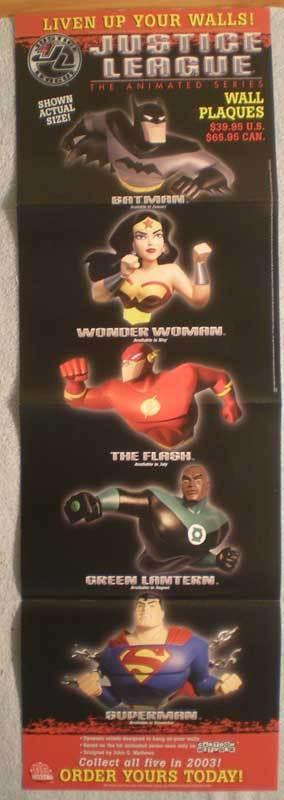 JUSTICE LEAGUE WALL PLAQUES Promo poster, 2003, Unused, more in our store