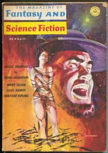 Fantasy & Science Fiction 3/1966-Gray Morrison bondage cover-Asimov-pulp-VG/FN