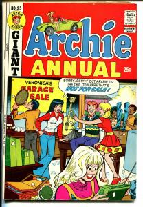 Archie Annual #25 1973-Betty-Veronica-Giant Issue-garage sale cover-FN