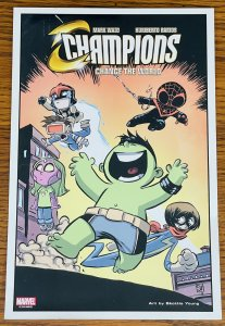 CHAMPIONS Change the World by SKOTTIE YOUNG LITHOGRAPH PRINT 6 x 10 LITHO Comic