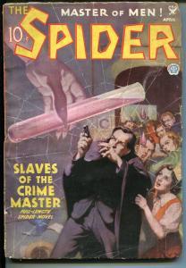 SPIDER-4/1935-HERO PULP-WEIRD MENACE-SLAVES OF THE CRIME MASTER-vg minus