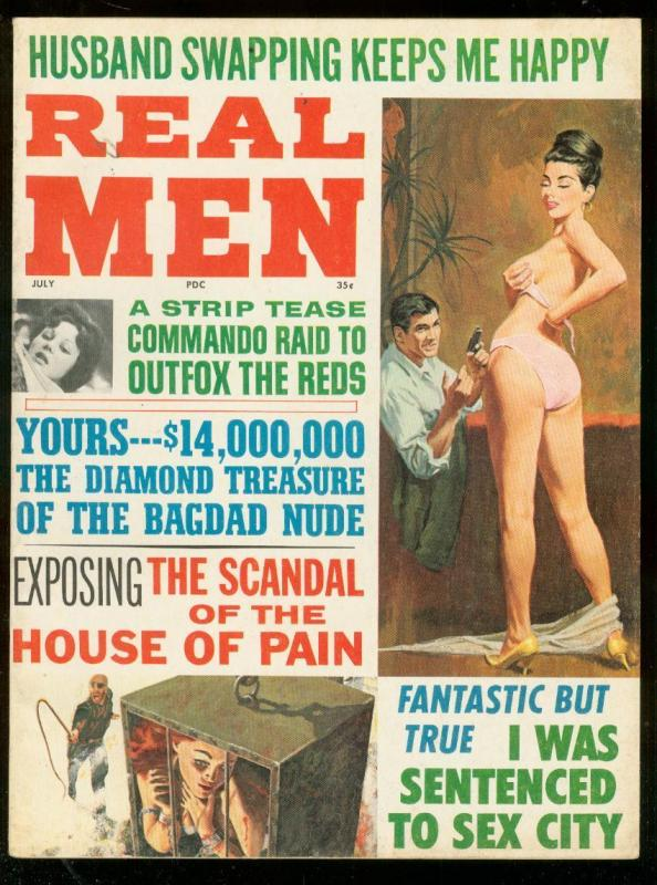REAL MEN -ULY 1965-WHIPPIN COVER-CHEESECAKE-CRIME-COMMI FN