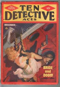 Ten Detective Aces 11/1948-Norman Saunders-hardboiled crime pulp-FN-