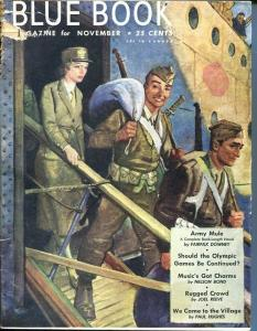 BLUE BOOK PULP-NOV 1945-FR/G-STOOPS COVER-BEDFORD-JONES-NELSON BOND-JOEL  FR/G