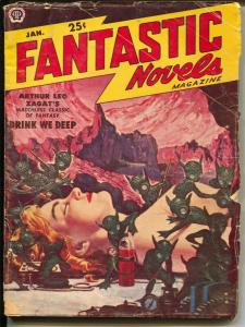 Fantastic Novels 1/1951-Popular-Rafael DeSoto-GGA/weird menace cover-VG