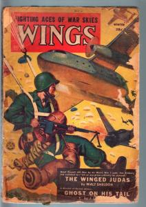 WINGS WINTER 1951 RARE PULP PARCHUTE ATTACK COVER FR/G