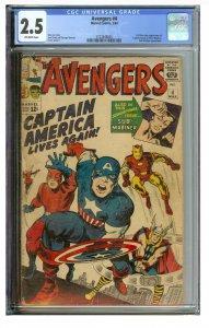 Avengers #4 (Marvel, 1964) CGC Graded 2.5