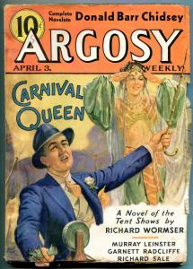 Argosy Pulp April 3 1937- Carnival Queen- Great cover- Donald Barr Chidsey