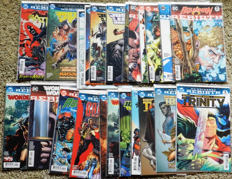 24 BOOK LOT OF DC REBIRTH STORY LINE COMICS! LOTS OF NUMBER 1 ISSUES LIKE NEW