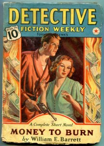 Detective Fiction Weekly Pulp March 19 1938- Money to Burn VG