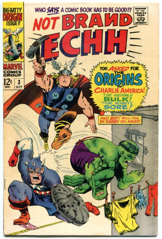 NOT BRAND ECHH #3 4 7 10, FN FN- VF VF, Origins, EC Cameos, Hulk, Thor, 1967