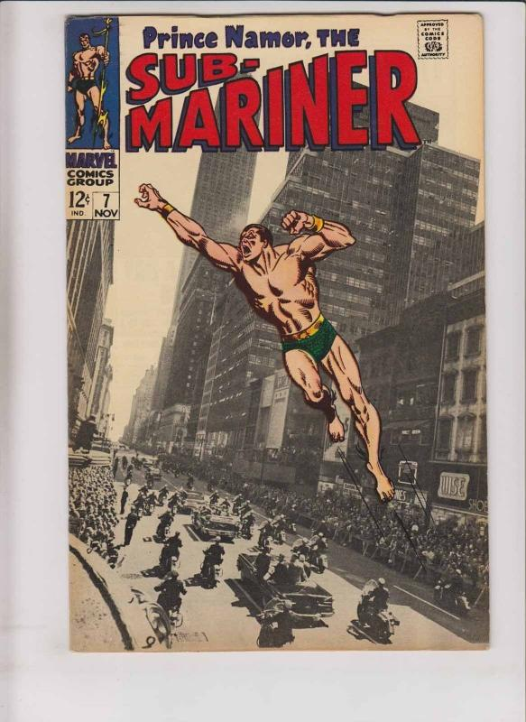 Prince Namor the Sub-Mariner #7 VF- photo cover - roy thomas - tiger shark 1968