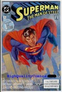 SUPERMAN  MAN of STEEL #1 NM  Jurgens 1991 Simonson  more SM in store