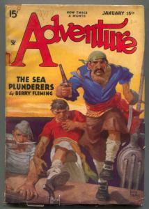 Adventure Pulp January 15 1935- Pirate cover- Sea Plunderers