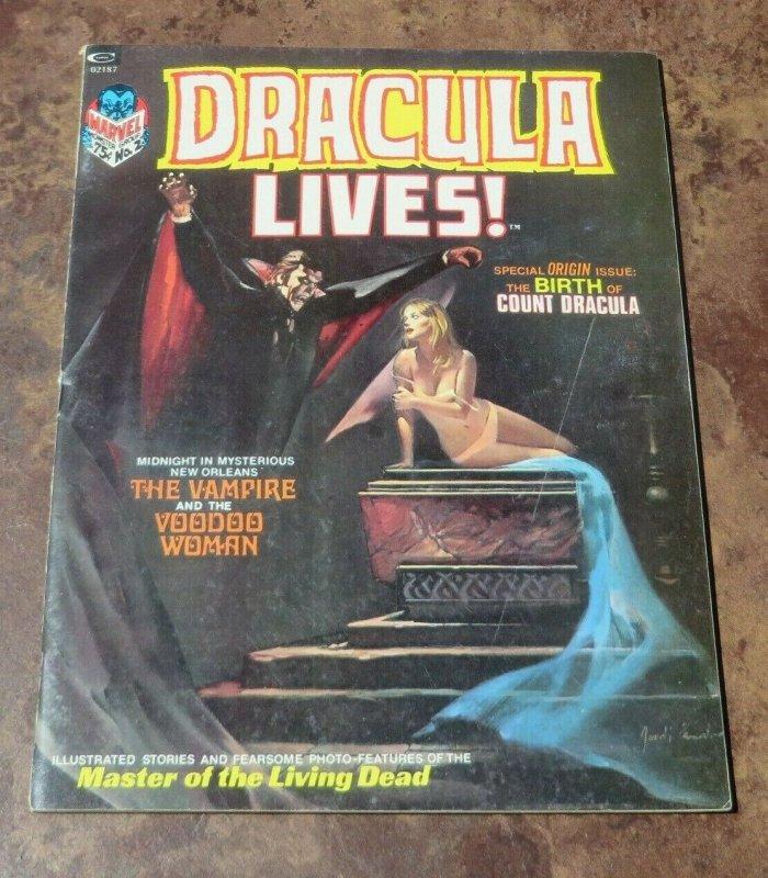 Dracula Lives #2 FN/VF 1973 Bronze Age Horror Magazine Birth Voodoo Woman Crazy