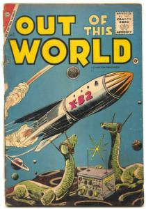 Out Of This World#1 1956-Charlton comics-RETRO ROCKET COVER- vg