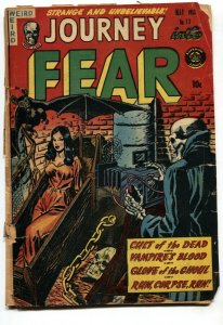 JOURNEY INTO FEAR #13 1953-SKELETON-VAMPIRE-HEADLIGHT-ZOMBIE-PRE-CODE