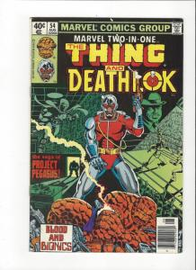 Marvel Two In One #54 Marvel Comics Thing Death of Deathlok Byrne Art VF