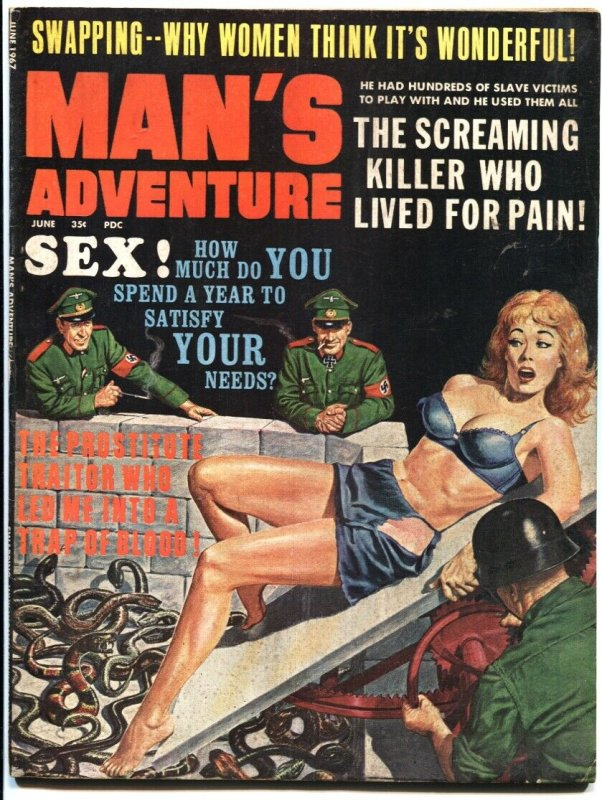 MAN'S ADVENTURE-JUNE 1967 SNAKE PIT TORTURE COVER-CHEESECAKE-WAR--FINE