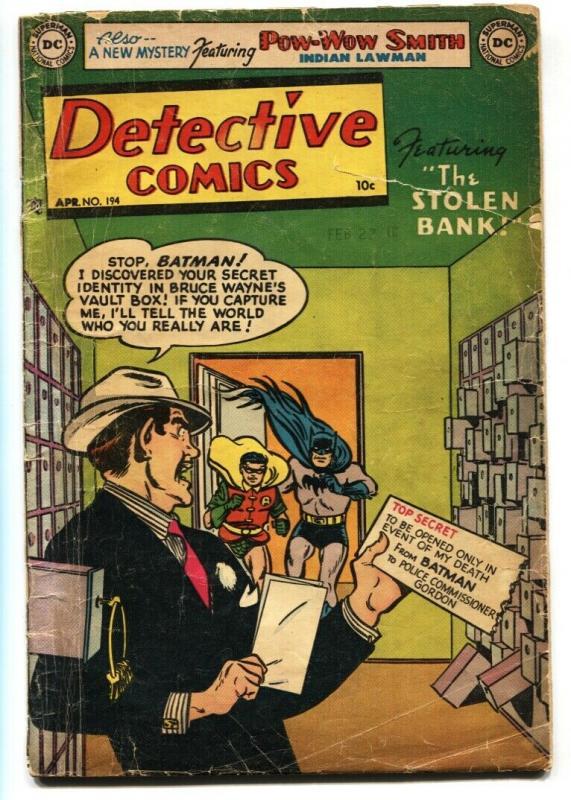 Detective Comics #194 1953  Batman- Robin- Robotman- Pow Wow Smith comic book