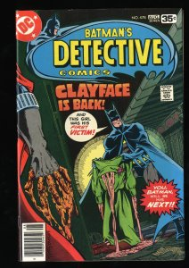 Detective Comics #478 VF 8.0 Clayface is Back!