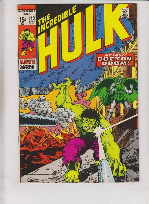 Incredible Hulk #143 FN vs doctor doom - roy thomas - dick ayers 2ND DOC SAMSON