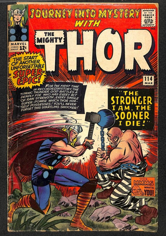 Journey Into Mystery #114 GD 2.0 1st Absorbing Man! Marvel Comics Thor